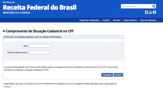 Atualização do CPF Receita Federal