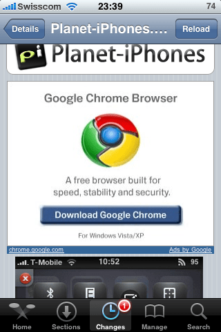 chrome auf iphone