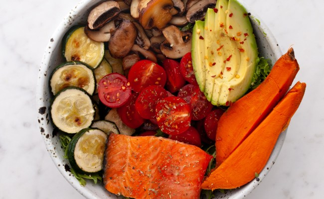 Salmon,Mushroom, Zucchini, Sweet Potato + Avocado Bowl Brava Oven