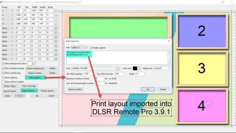 Editing a caption in the Print Layout Editor DSLR Remote Pro 3.9.1