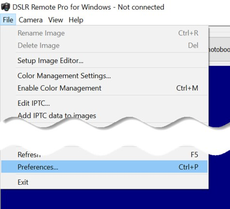 Shows how to display existing preferences in Breee DSLR Remote Pro 3.11.3
