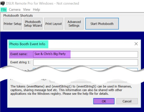 Photo Booth Event Info screen in DSLR Remote Pro 3.11.2