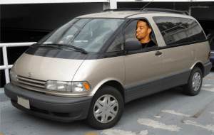 When he rolls back to Cleveland... in his Previa