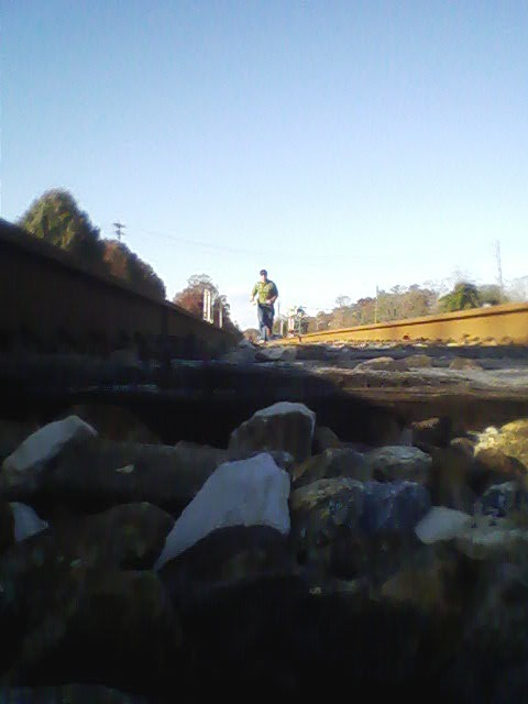 Running down the railroad tracks by Berkely Mills/Kimberly-Clark plant.