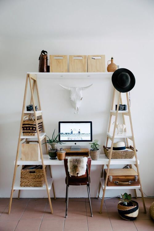 diy office desk and shelving