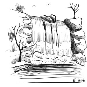 How to Draw A waterfall  - Sketch 37