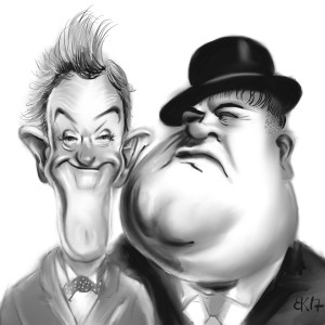 How to Draw caricature of Laurel Stan and Oliver Hardy - Sketch 65
