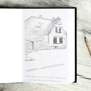 Drawing an Old Danish Brick House With Garden - Sketch 361