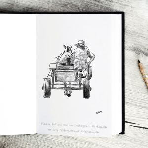 Pen and Ink Drawing of a Horsedrawn Carriage - Sketch 390