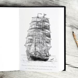 Pen and Ink Drawing of a Sailship - Sketch 398
