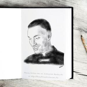 Pen and Ink Drawing of Joey Moe - Sketch 421