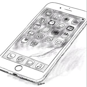 Pen and Ink Drawing of an iPhone - Sketch 520