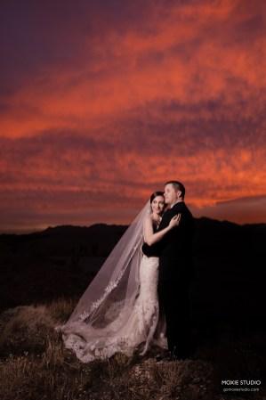 couple at sunset at Paiute