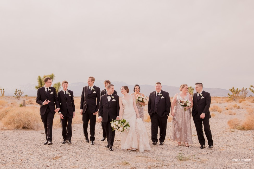 bridal party in desert at Paiute