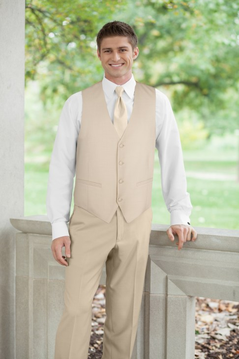Modern jacketless tuxedo in tan