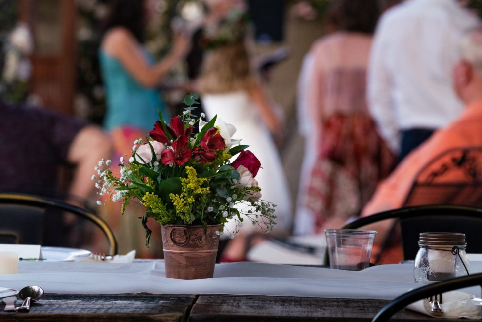 table centerpiece at intimate Las Vegas Wedding Bridal Spectacular
