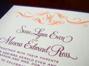Eggplant & Tangerine Invitation