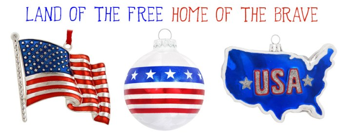 Land Of The Free Home Of The Brave American Christmas Ornaments