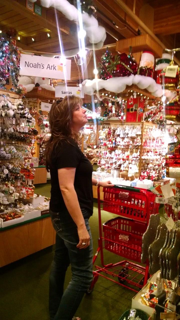 Aliza looking up at ornaments