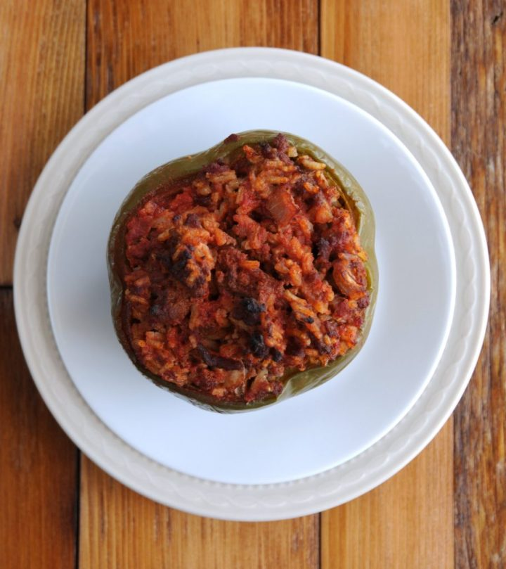 Stuffed Peppers On Stacked Plates