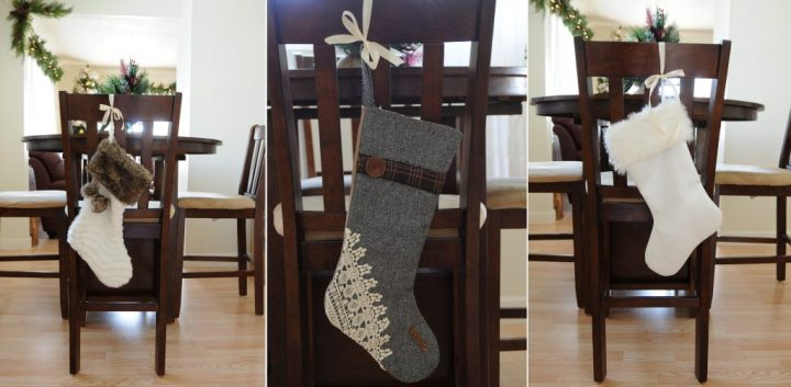 Christmas Stockings Hung From Ribbon On Chair Backs, Chair Decor