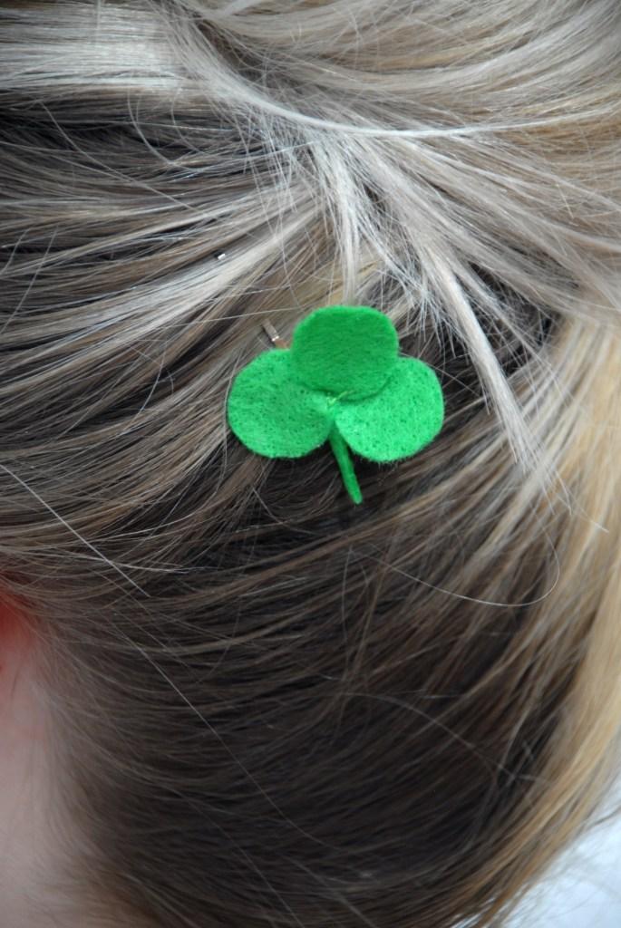 Felt Shamrock Hairpin Closeup