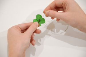 Secure Felt Shamrock To Bobby Pin With Stitches