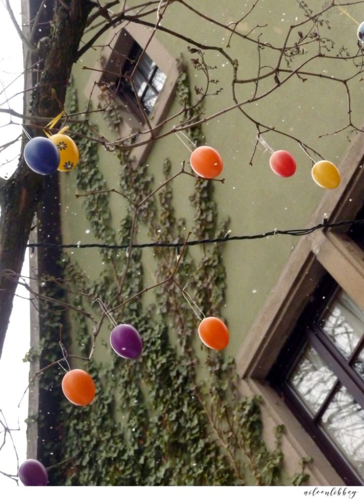 Easter Eggs In Snowfall, Osterbrunnen Decorated Home In Germany