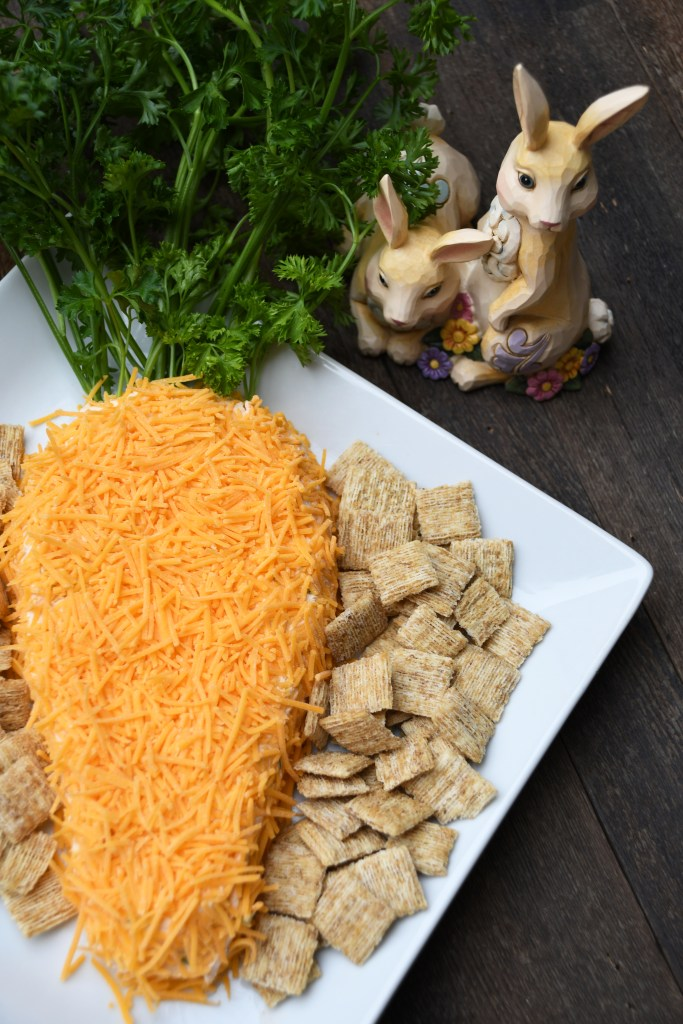 Carrot-Shaped Cheese Spread And Jim Shore Bunnies