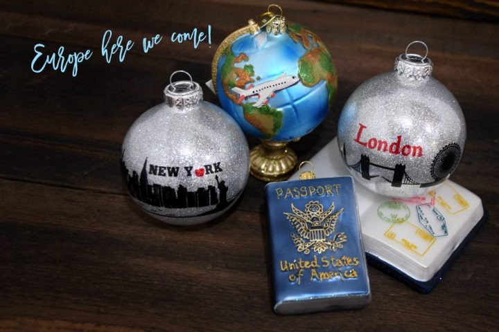 New York, London, Passports, and Globe with Airplane Travel Glass Christmas Ornaments