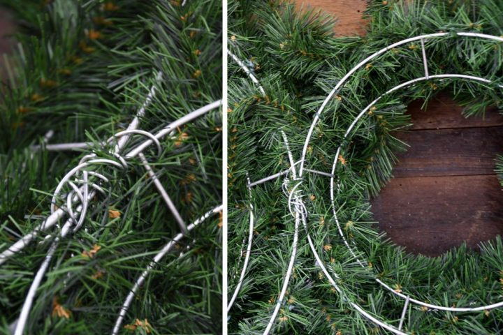 Artificial Christmas wreaths wired together