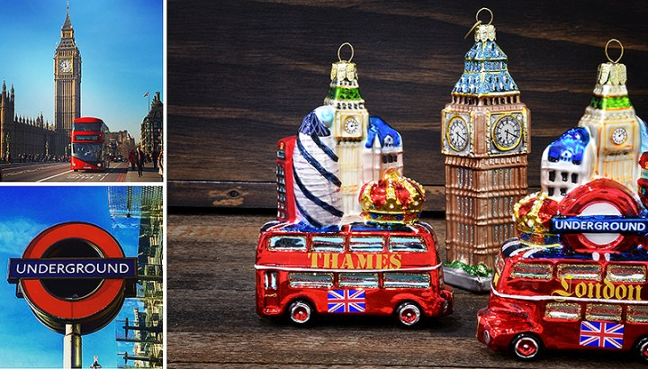 Double Decker Red Bus With London Landmarks And Big Ben Glass Christmas Ornaments.
