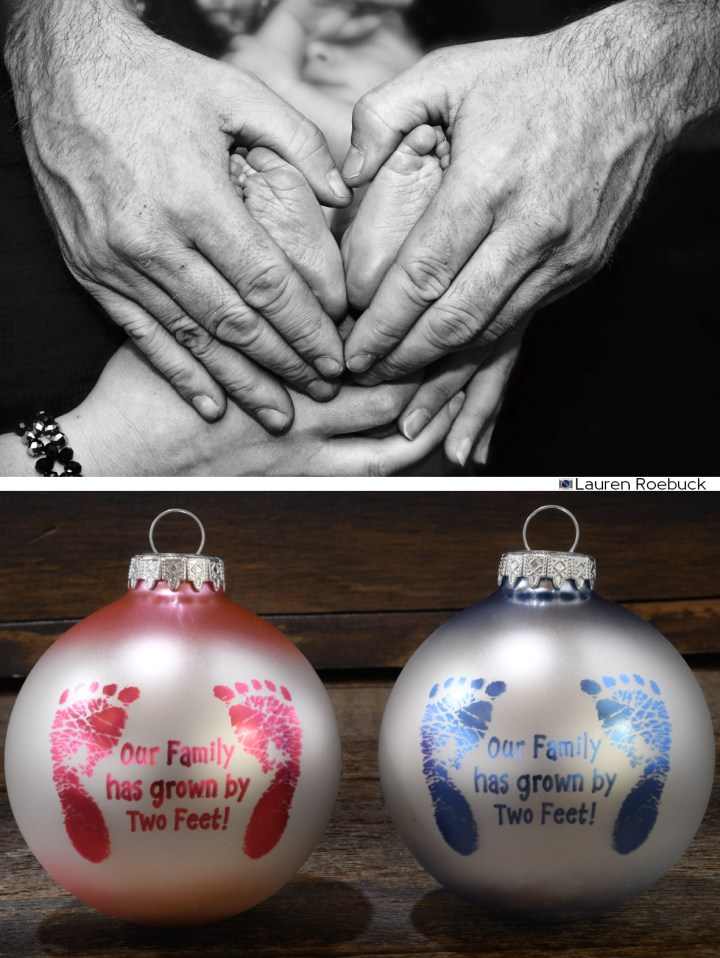Baby's Feet And Heart Hands; Our Family Has Grown By 2 Feet Bronner's Exclusive Ornament