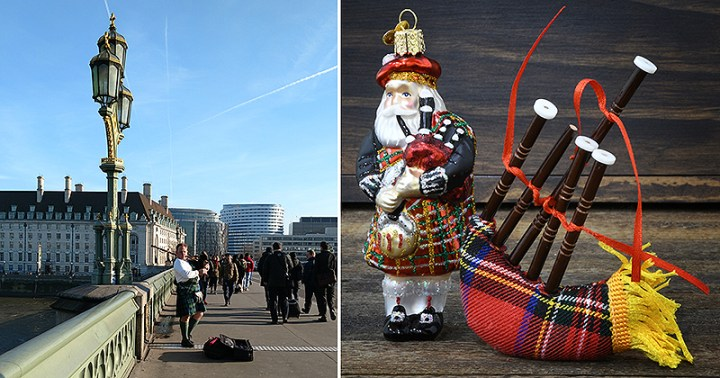 Highland Santa Old World Christmas Ornament And Tartan Plaid Bagpipes. Bagpiper On The Thames In London.