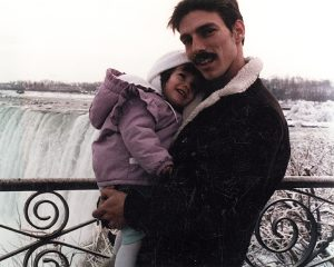 Father And Daughter At Niagara Falls In Winter