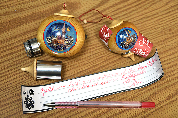 Hidden Message Wooden Finial Ornaments With Church Scene From Bronner's Christmas Wonderland