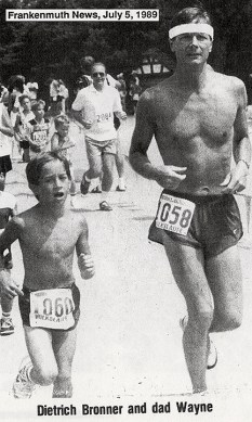 Dietrich and Wayne Bronner running in Frankenmuth's 4th of July Volkslaufe; Circa 1989