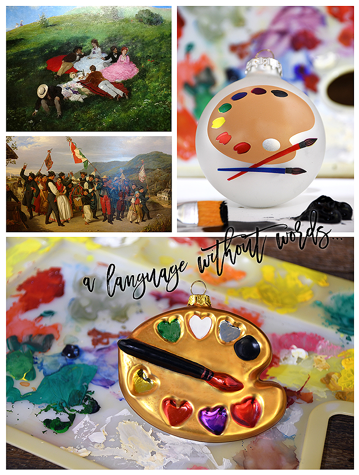 """Picnic in May"" by Szinyei Merse Pál and ""Grape Harvest Near Vác"" by Ágost Canzi and Exclusive Paint Palette Glass Ornaments From Bronner's Christmas Wonderland"