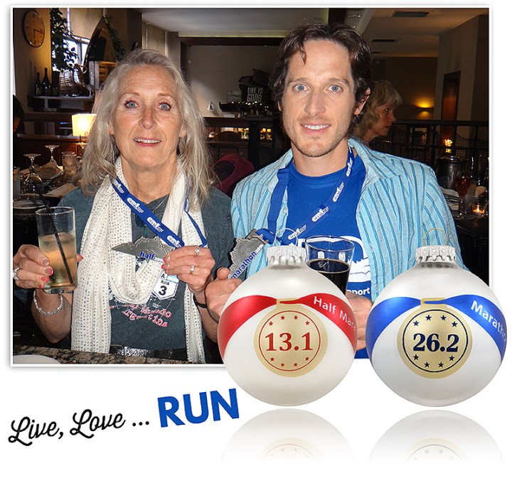Lorene and Dietrich Bronner with their half and full marathon medals and ornaments.