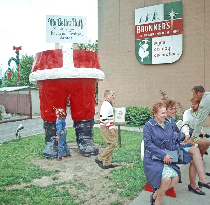 My Better Half Is In The Bavarian Parade Says Sign On Bronner's Iconic Fiberglass Santa, Circa 1969