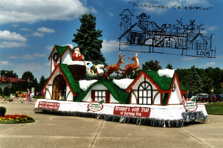 Up on the housetop reindeers paws. Bronner's 2005 Bavarian Festival parade float and conceptual sketch.