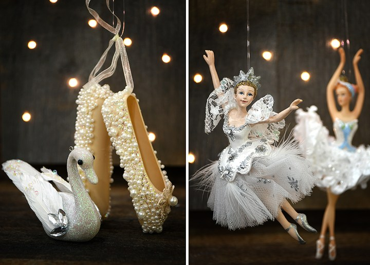 Swan, Ballet Slippers, And Ballerina Ornaments With Bokeh.