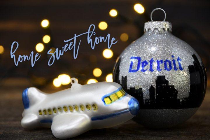 Airplane; Detroit Skyline.