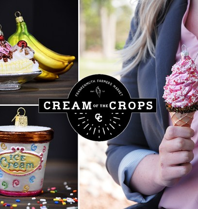 "Frankenmuth Farmers Market now offers ""Cream Of The Crops"" ice cream selections. Ice cream ornaments from Bronner's."