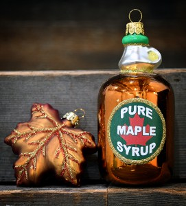 Maple Syrup And Maple Leaf Glass Christmas Ornaments From Bronner's Christmas Wonderland.