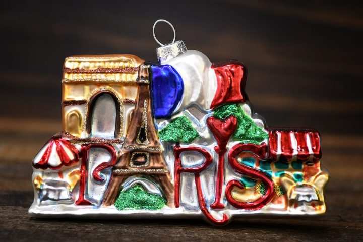 Paris Glass Christmas Ornament With Arc De Triumphe, Eiffel Tower, Flag of France and Cafes.