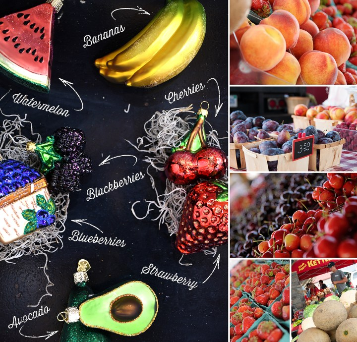 Watermelon, Bananas, Blackberries, Cherries, Blueberries, Strawberry, and Avocado Fruit Ornaments and Farmers Market Produce.