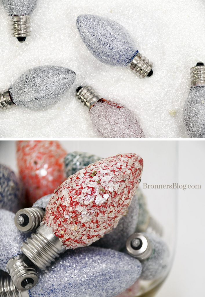 DIY Upcycled Glittered Bulbs