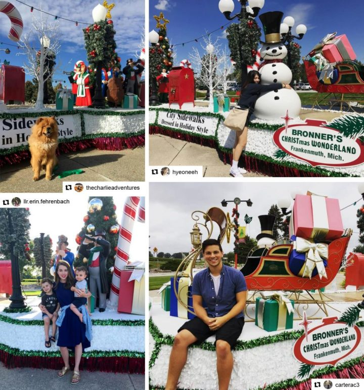 Guests Pose For A Photo With Bronner's Christmas Wonderland's 2017 Bavarian Parade Float.