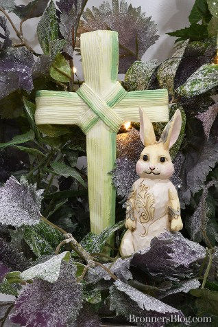 Cross of palms and Jim Shore woodland bunny figure